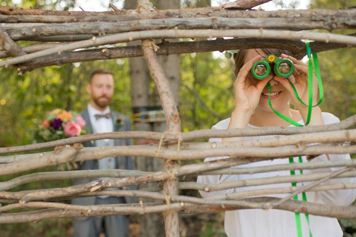 bride with binoculars