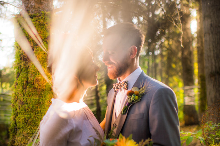sunlit wedding portrait