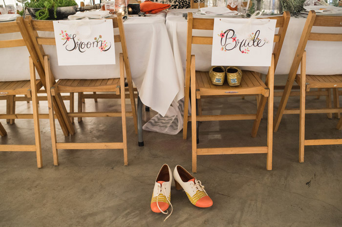 hand painted floral bride and groom signs