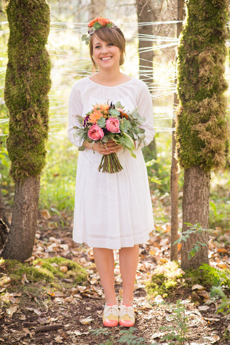 bride portrait in the woods