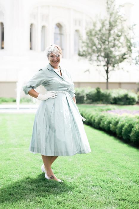 bride in vintage blue wedding dress
