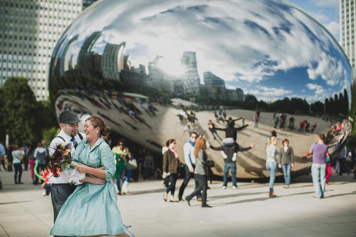 city wedding portrait