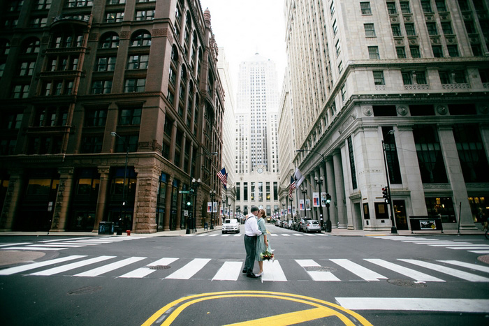 bride and groom in intersection
