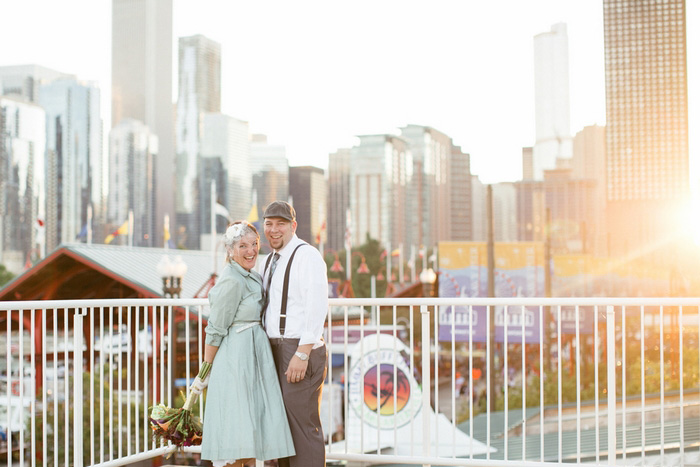 bride and groom city portrait