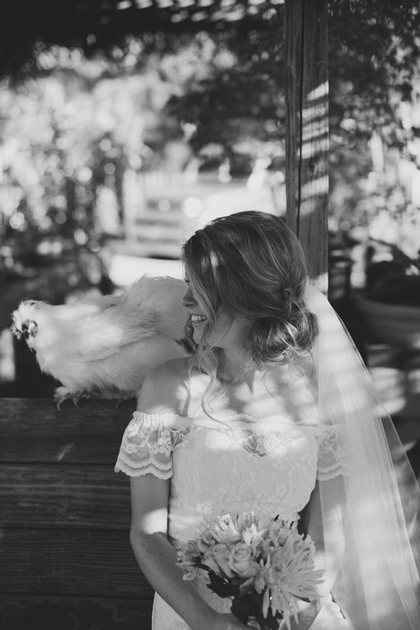 bride with chicken