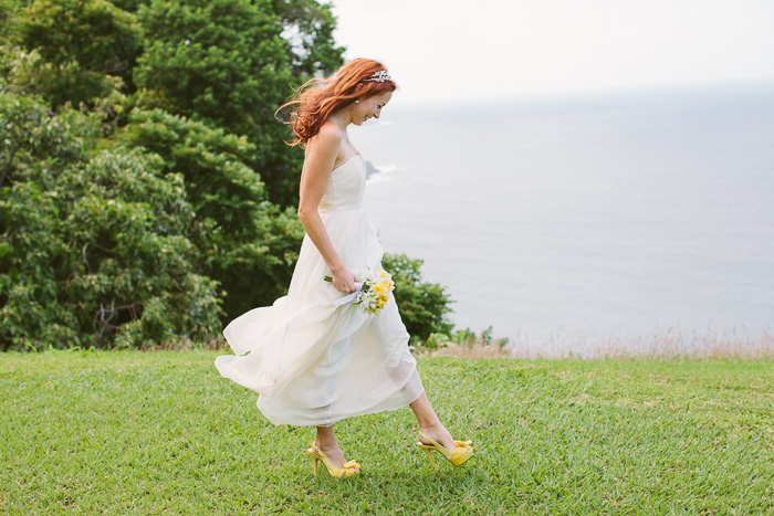 bride walking to elopement ceremony