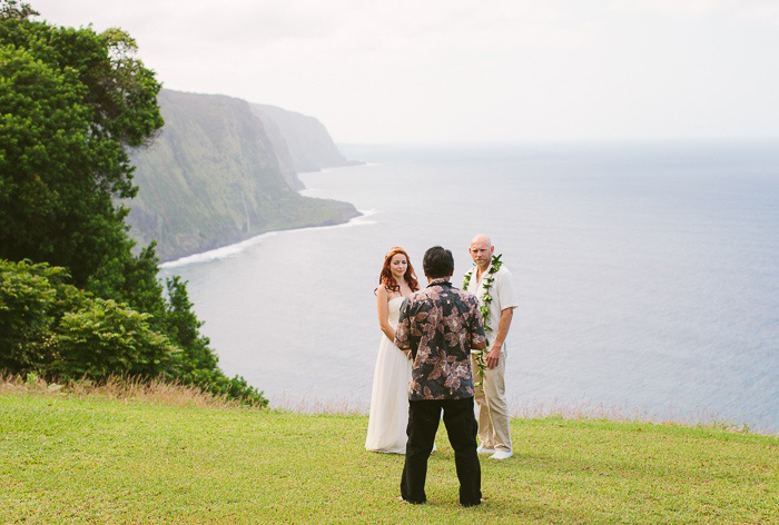 Hawaii cliffside elopement