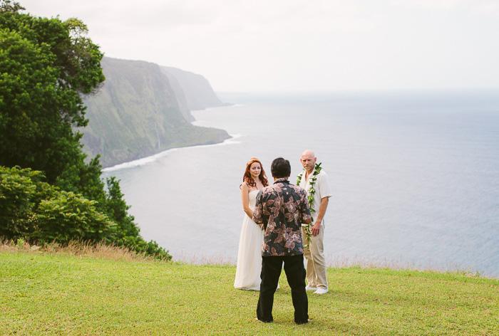 Hawaii cliffside elopement