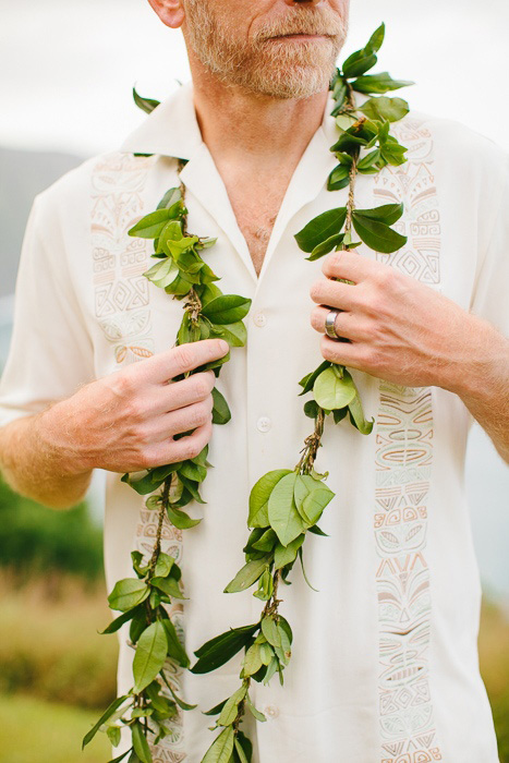 groom wearing lei