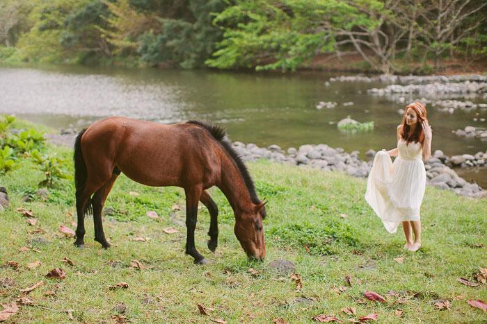 bride with wild horse