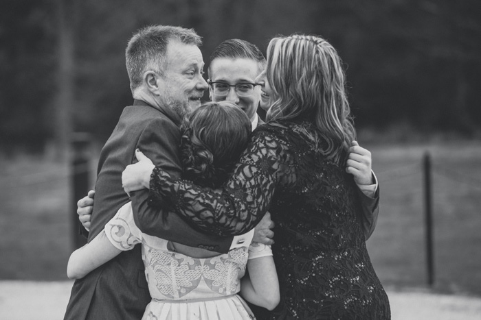 wedding group hug