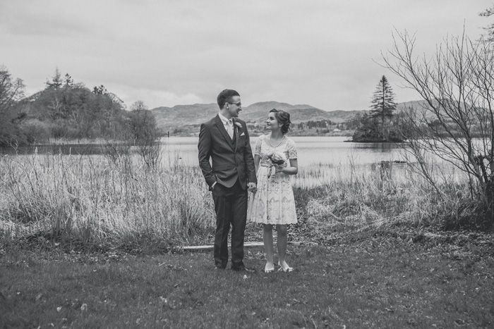 black and white photo of bride and groom