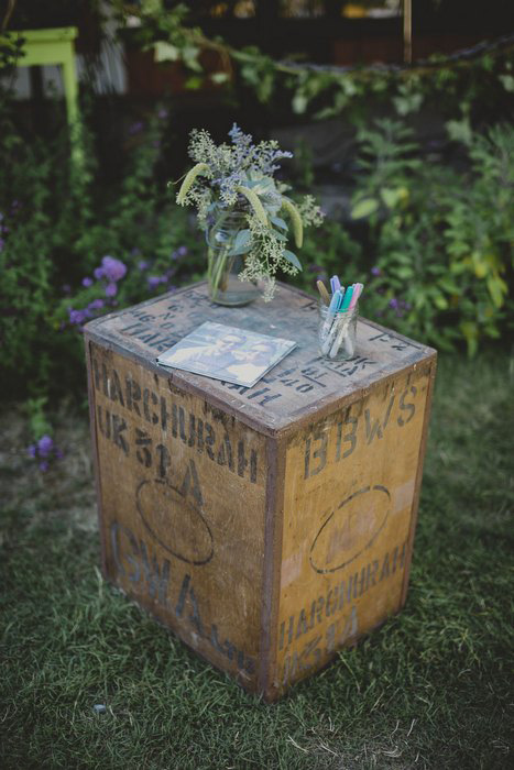 vintage crate guest book table