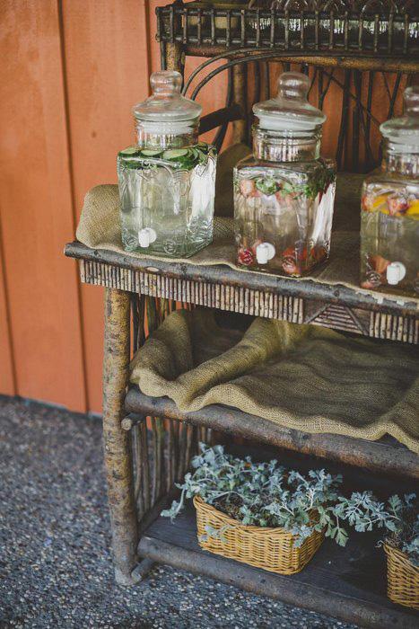 outdoor wedding beverage station