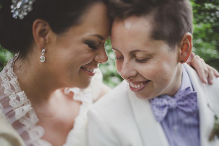 intimate same sex wedding portrait