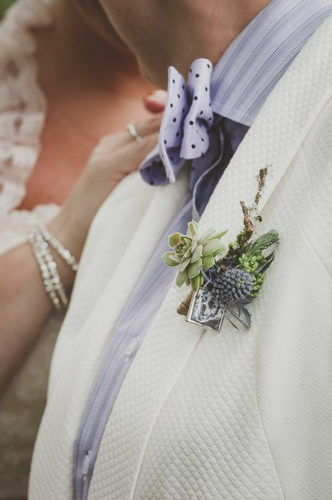 bride wearing boutonniere