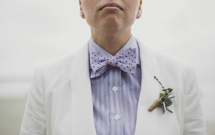 bride's polka dot bow tie