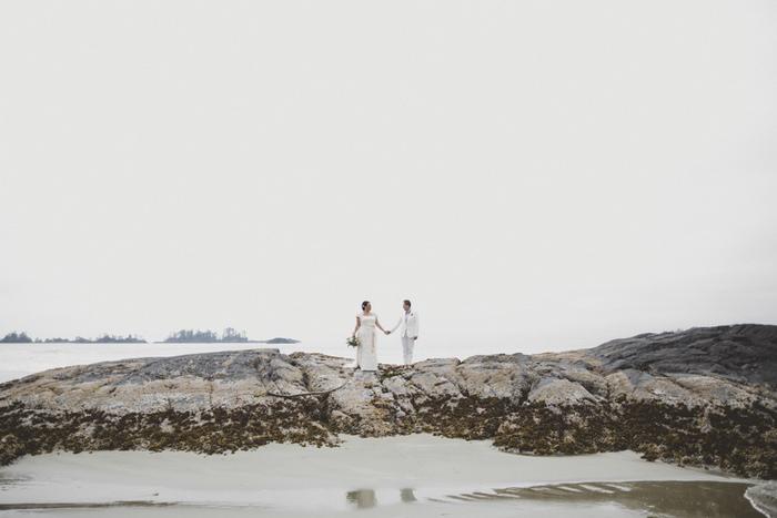 wedding portrait on the rocks