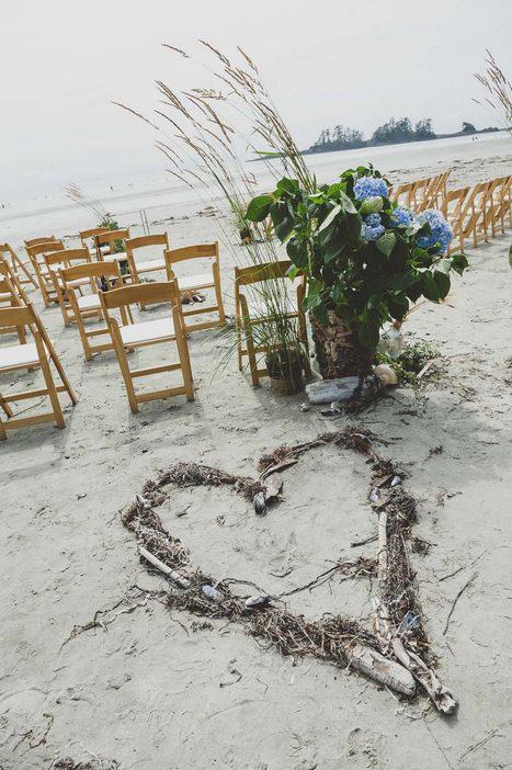 Tofino beach wedding ceremony set-up