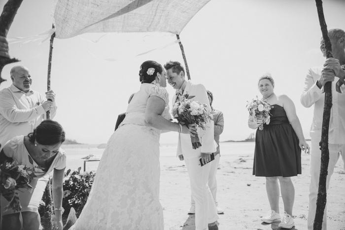 same sex wedding on the beach