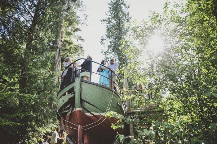 old wooden boat reception venue