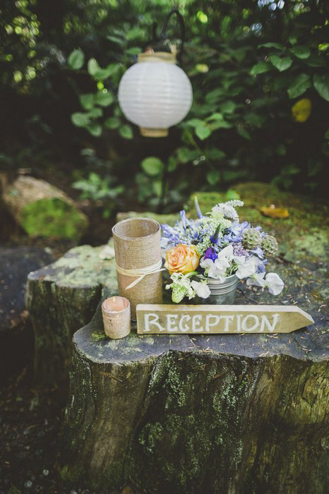 wooden reception sign