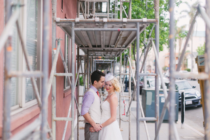 wedding portrait under scaffolding
