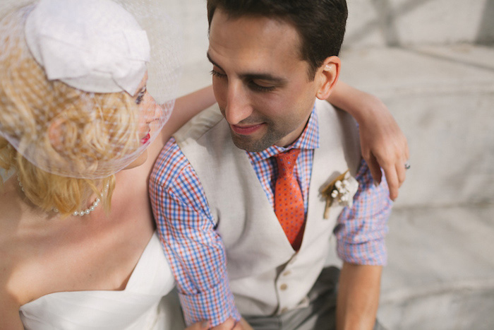 close-up bride and groom portrait