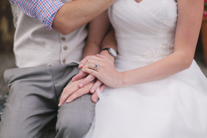 cose-up portrait on bride and groom's hands