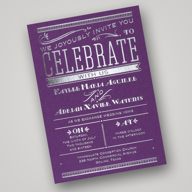 Silver Foil Wedding Invitation