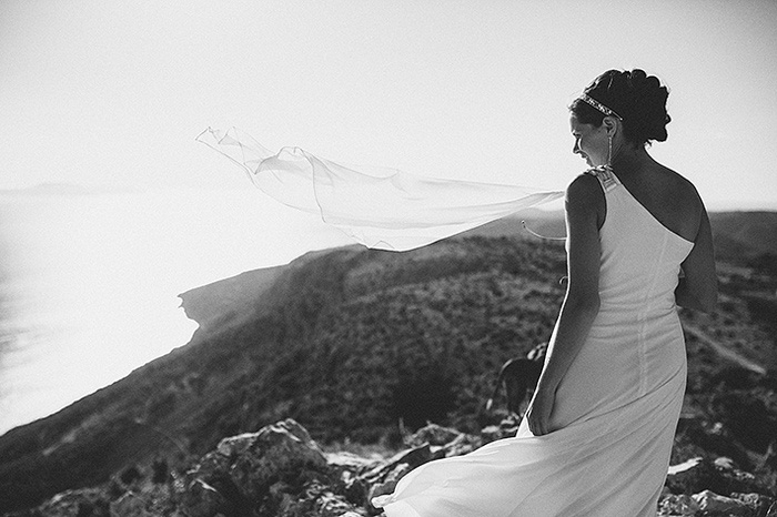 bride's veil blowing in the breeze