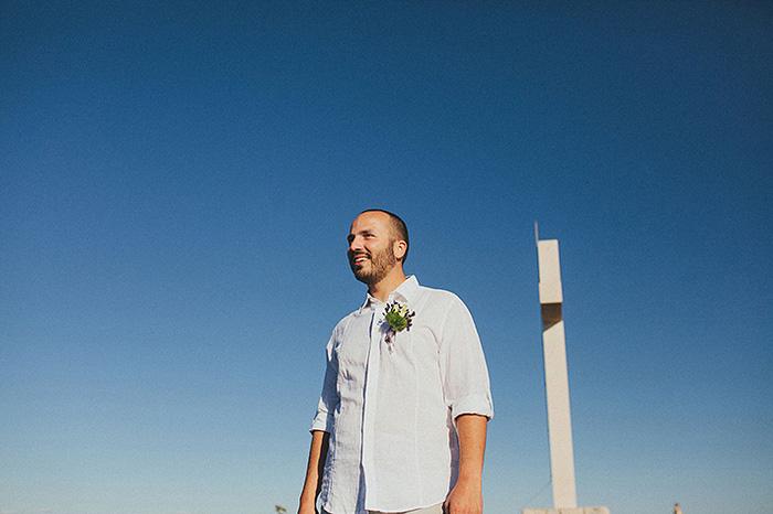 groom waiting on Croatian hillside for his bride