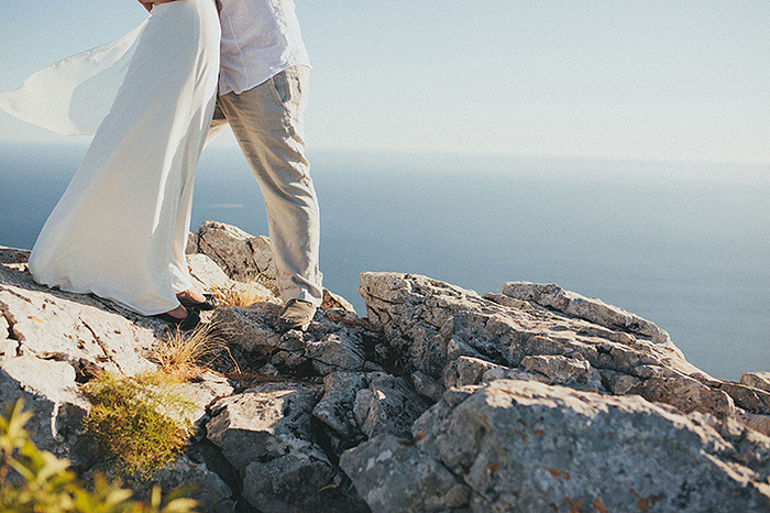 bride and groom on top of croatina mountain