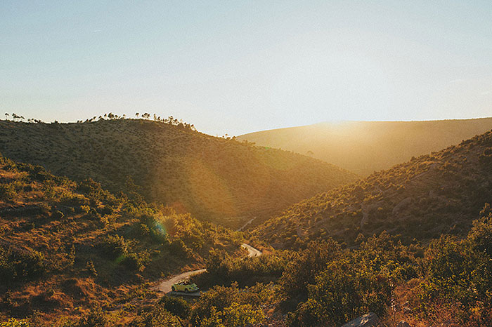 croatian countryside at sunset