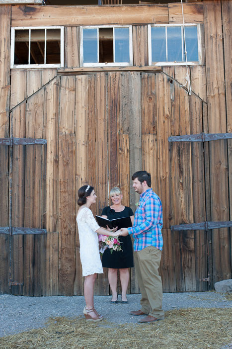 elopement ceremony in front of barn