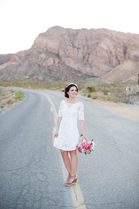 bride portrait on desert highway