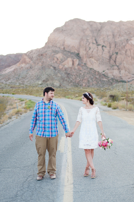 couple portrait on desert highway