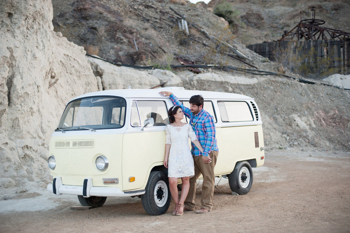 bride and groom portrait with VW bus