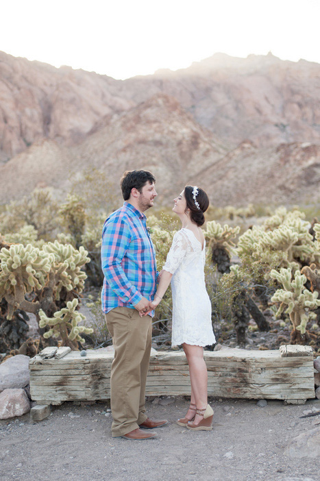 bride and groom portrait in Nevada Desert