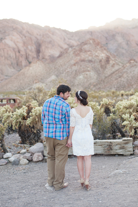 bride and groom in the desert