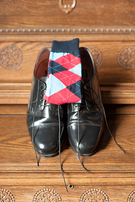 argyle socks and groom's shoes