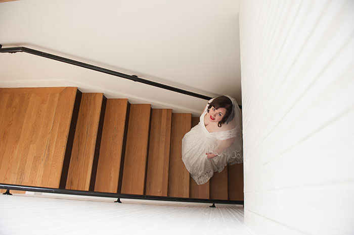 bride on chapel stairs