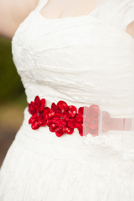 red bridal belt