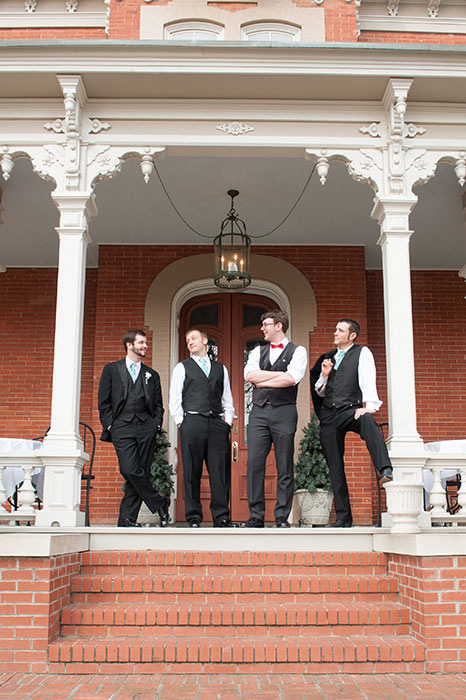 groomsmen on porch