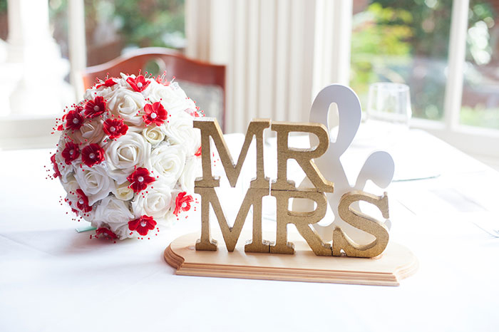 Mr. and Mrs. wedding sign