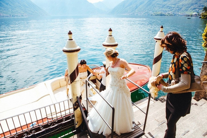 bride at Lake Como boat landing