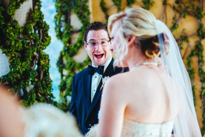 groom's emotional reaction to bride