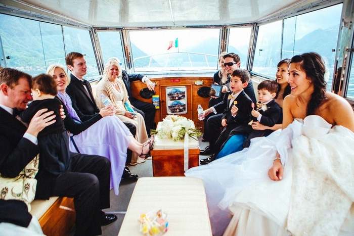 boat with wedding guests