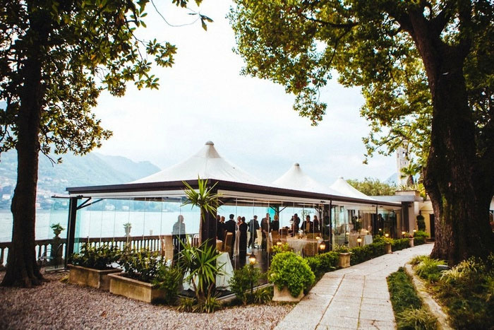 Lake Como restaurant wedding recption