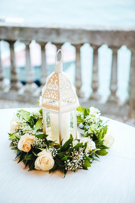 lantern and rose centerpiece
